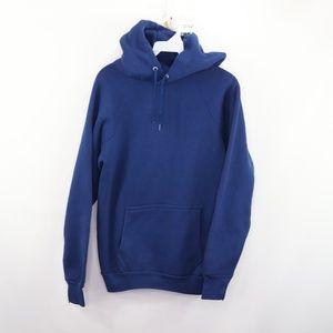 Vtg 80s Mens Small Gusset Hooded Sweatshirt Blue